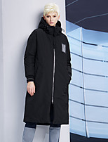 DL.FANG Women's Long Down CoatSimple Going out / Casual/Daily Solid-Polyester / Nylon White Duck Down Long Sleeve Hooded