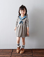 Girl's Casual/Daily Striped Dress / Overall & JumpsuitCotton Spring / Fall Gray