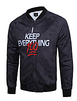 Мужчины Нарядная / Для клуба / Большие размеры С принтом Куртка V-образный вырез,Простое / Уличный стиль / Активный Осень / Зима Черный