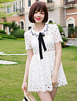 Women's Going out Cute A Line Dress,Embroidered Round Neck Above Knee Short Sleeve White Polyester Summer High Rise Micro-elastic Medium