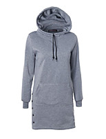 Women's Casual/Daily Simple Long Hoodies,Solid Black / Gray / Green Hooded Long Sleeve Cotton Fall / Winter Thick Stretchy