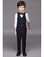 Polyester / Serge / Polester/Cotton Blend Ring Bearer Suit - Four-piece Suit Pieces Includes  Shirt / Vest / Pants / Bow Tie