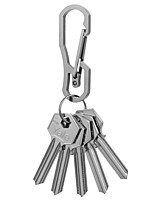 FURA Wire-Electrode Cutting 440 Stainless Steel Carabiner Keychain with Keyring - Black / Silver