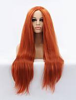 Sylvia синтетический парик фронта шнурка каштановый жаропрочные длинные прямые синтетические парики