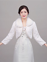 Women's Wrap Shrugs Long Sleeve Faux Fur Ivory Wedding / Party/Evening Rolled collar 41cm Feathers / fur Lace-up