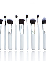 10 Makeup Brushes Set Nylon Hair Professional / Portable Wood Handle Face White