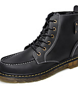 Men's Fashion Boots Comfort Leather Martin Boots Outdoor / Casual Flat Heel Lace-up Black / Brown / Coffee Walking