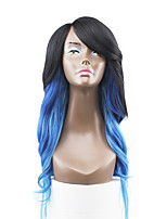 New Style Blue Hair Lace Front Natural Wavy Synthetic Lace Wigs