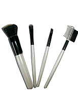 4 Makeup Brushes Set Nylon Portable Wood Face