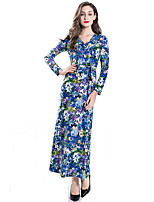 Women's Fashional Going out Sheath Dress Floral V Neck Maxi Long Sleeve