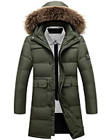 Men's Casual/Daily Simple Coat,Solid Long Sleeve Winter Beige / Black / Green Polyester