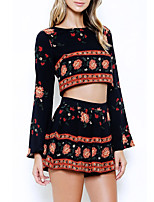 Women's Going out / Casual/Daily Simple Summer / Fall Set SkirtPrint Round Neck Long Sleeve Black Polyester Opaque
