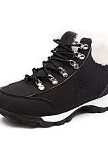 Women's Boots Spring / Fall Comfort Leather Athletic Flat Heel Lace-up Black / White Sneaker