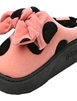Women's Flats Fall Winter Platform Canvas Casual Flat Heel Bowknot Green Pink Red Khaki Other