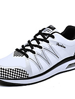 Men's Sneakers Spring Fall Comfort Tulle Microfibre Casual Flat Heel Lace-up Black White Running