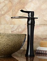 Contemporary / Art Deco/Retro / Modern Centerset Waterfall / Widespread / Pre Rinse with  Ceramic Valve Single Handle Two Holes for