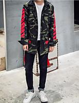 Мужчины На каждый день камуфляж Куртка Воротник-стойка,Простое Осень / Зима Красный Длинный рукав,Полиэстер