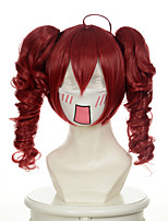 série vocaloid teto holic mixtes rouges bouclés deux queues de cheval Perruques perruques synthétiques perruques de costume