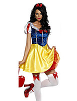 Cosplay Costumes Princess / Fairytale Halloween Yellow / Blue Print Cotton Dress / Headwear