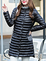 Women's Long Padded CoatSimple / Street chic Patchwork Plus Size / Casual/Daily Solid Long Sleeve Stand