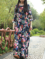 Cynthia Women's Casual/Daily Chinoiserie Loose DressFloral Round Neck Maxi Long Sleeve Blue Cotton
