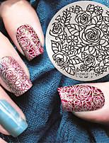 Manicure Circular Plate Rose Blue Membrane DIY Stamp Printing Template