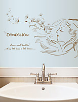 Dandelion Flying Beautiful Girl Wall Stickers DIY Removable Living Room Bedroom Wall Decals