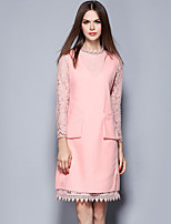 YICHAOFUSHI  Women's Going out Street chic Sheath DressSolid Round Neck Above Knee Long Sleeve Pink Polyester Fall suit - OMT-Y2162-280