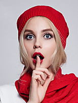 women England Vintage Casual Twist Weave Wool Cotton Warm Pure Color Knit beret Hat