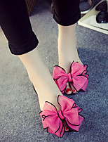 Women's Sandals Summer Comfort PVC Casual Flat Heel Bowknot Black Blue Red Champagne Walking