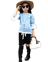 Girl's Sweet Going out Patchwork Angel Sleeve Sweater & Cardigan