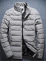 Пальто Простое Короткая На подкладке Мужчины,Однотонный На каждый день Полиэстер Хлопок,Длинный рукав Воротник-стойкаКрасный / Черный /