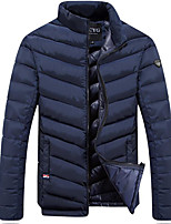 Men's Regular Padded Coat,Simple Casual/Daily Solid-Polyester Cotton Long Sleeve Stand Blue