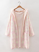 Women's Casual/Daily Sophisticated Long Cardigan,Print Blue / Pink / Black / Gray Hooded Long Sleeve Cashmere / Polyester Fall Medium