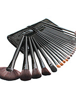 24 Makeup Brushes Set Synthetic Hair Professional / Portable Wood Handle Face/Eye/Lip Black