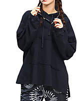 Women's Simple Regular HoodiesSolid Blue / White / Black Hooded Long Sleeve Cotton Fall Medium Micro-elastic