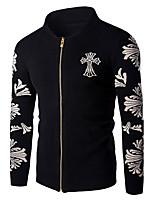 Мужчины На выход / На каждый день Однотонный / Цветочный принт Куртка Воротник-стойка,Простое Весна / Осень Синий / Черный Длинный рукав,