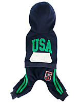 Dog Coat / Hoodie Red / Blue Dog Clothes Winter / Spring/Fall Letter & Number Sports / Windproof