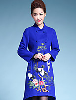 AINIER Women's Casual/Daily Chinoiserie CoatEmbroidered Stand Long Sleeve Fall Blue Wool / Polyester Medium