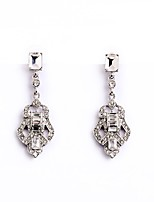 European Luxury Gem Geometric Earrrings Vintage Full Rhinestone Drop Earrings for Women Fashion Jewelry Best Gift