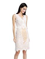 2017 lanting bride® genou dentelle élégante robe de demoiselle d'honneur - gaine / colonne v-cou avec appliques