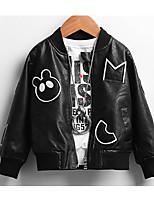 Boy Casual/Daily Solid / Print Jacket & Coat,PU Fall Long Sleeve