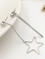 Women European Style Fashion Sweet Asymmetric Metal Bars Star Drop Earrings