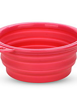 Pet Dog Silicone Bowl Expandable Collapsible Travel Water Food Fuchsia