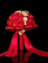 Bouquets de Noiva Redondo Buquês Casamento / Festa / noite Cetim / Seda / Enfeite / Crostal / Strass / Metal 11.02