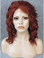 IMSTYLE 14''Beautiful Auburn Short Wave Synthetic Lace Front Wigs Heat Resistant