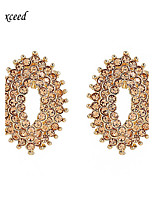 Hot Selling Luxurious Lovely Eye-shaped Crystal Gold Alloy Stud Earring For Women