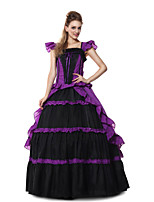 Steampunk@Charmian Women's Short Sleeves Ruffles Gothic Victorian Fancy Lolita Dress