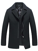 Men's Casual/Daily Simple Coat,Solid Long Sleeve Winter Red / Black Wool