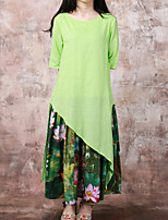Cynthia Women's Casual/Daily Chinoiserie Swing DressFloral Round Neck Maxi  Length Sleeve Green Cotton